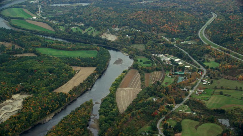 6K stock footage aerial video flying by farms along the Connecticut River, autumn, Hartland, Vermont Aerial Stock Footage | AX151_046