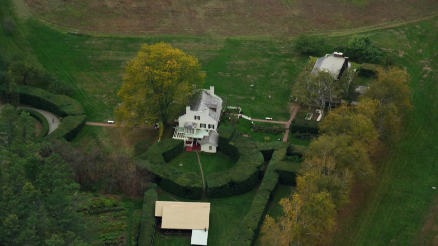 6K stock footage aerial video of a bird's eye view over Saint-Gardens National Historic Site, autumn, Cornish, New Hampshire Aerial Stock Footage | AX151_050