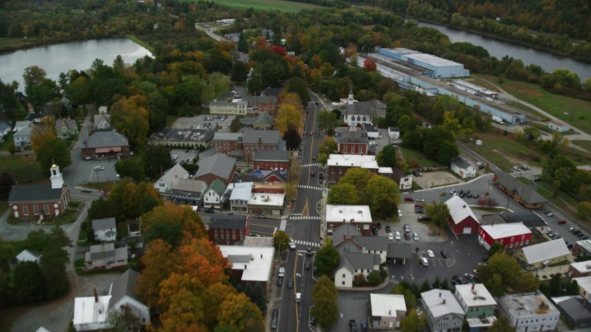 6K stock footage aerial video flying over small rural town, main street, autumn, Windsor, Vermont Aerial Stock Footage | AX151_062