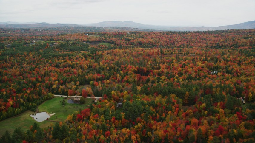 6K stock footage aerial video flying over rural homes, brightly colored forest, autumn, Newbury, New Hampshire Aerial Stock Footage | AX151_094