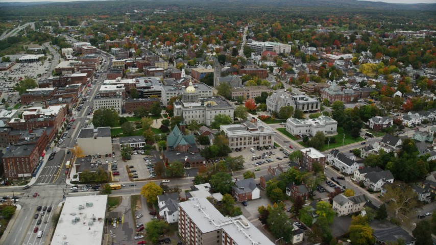 6K stock footage aerial video orbiting downtown, New Hampshire State House, autumn, overcast, Concord, New Hampshire  Aerial Stock Footage AX151_186 | Axiom Images