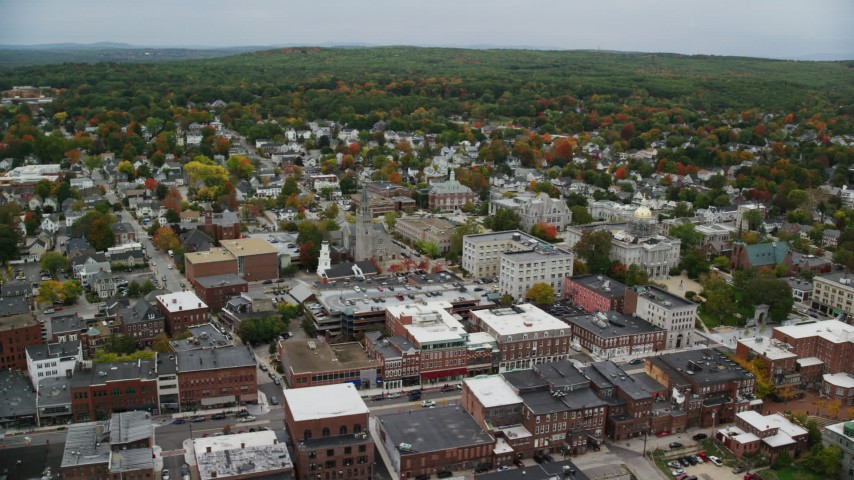 6K stock footage aerial video of New Hampshire State House, downtown in autumn, Concord, New Hampshire Aerial Stock Footage | AX151_188