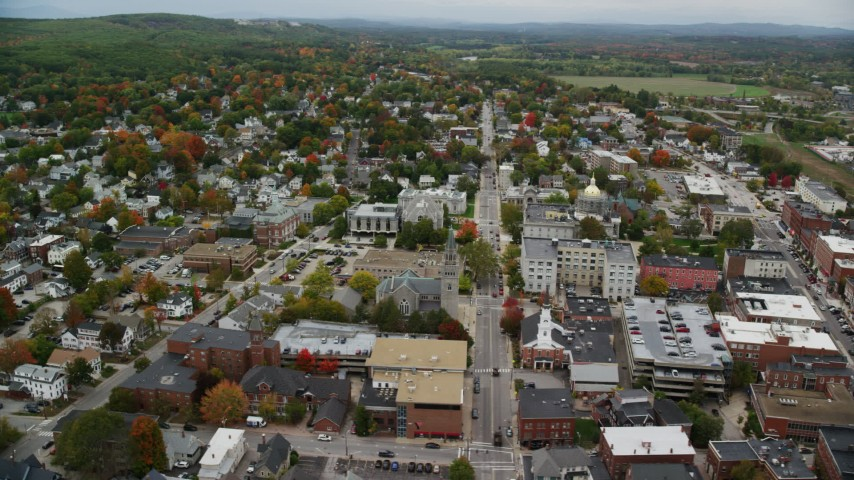 6K stock footage aerial video orbiting downtown buildings, streets, New Hampshire State House, autumn, Concord, New Hampshire  Aerial Stock Footage | AX151_189