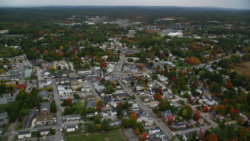 6K stock footage aerial video orbiting Broadway, downtown areas, autumn, Derry, New Hampshire Aerial Stock Footage | AX152_057
