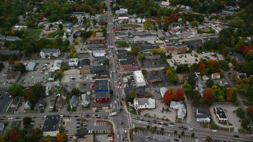6K stock footage aerial video flying by Broadway, downtown in autumn, Derry, New Hampshire Aerial Stock Footage | AX152_058