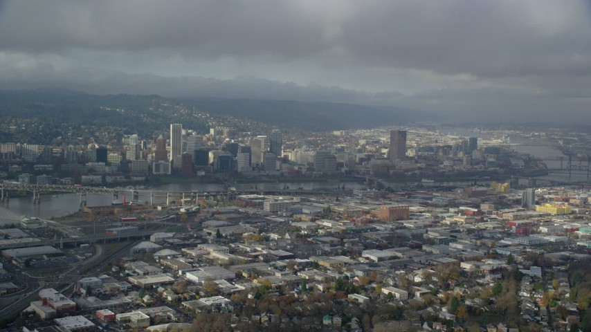 6K stock footage aerial video of Downtown Portland from the east on a cloudy day, Portland, Oregon Aerial Stock Footage | AX153_020