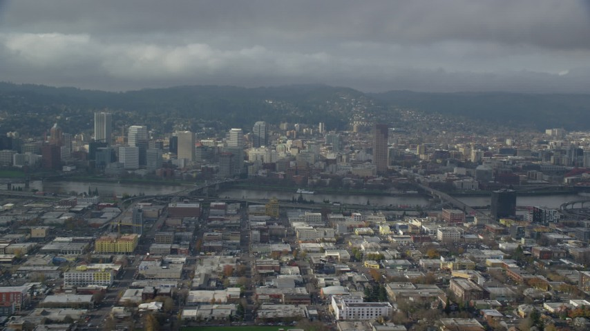 6K stock footage aerial video of Downtown Portland on a partly cloudy day, Oregon Aerial Stock Footage | AX153_022