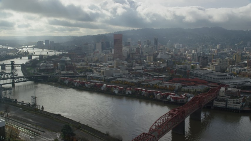 6K stock footage aerial video of the Willamette River and Downtown from Northeast Portland, Oregon Aerial Stock Footage   AX153_031