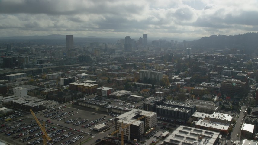 6K stock footage aerial video approaching Downtown Portland skyscrapers in Oregon Aerial Stock Footage | AX153_068
