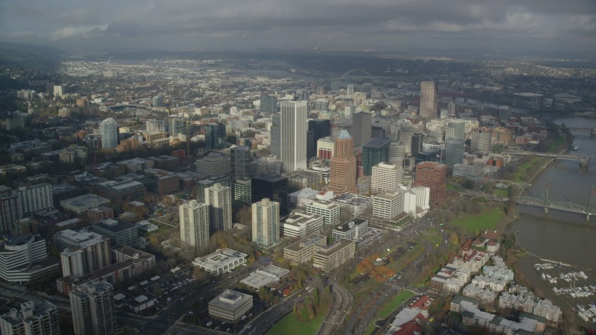 6K stock footage aerial video orbiting skyscrapers in Downtown Portland, Oregon Aerial Stock Footage | AX153_073