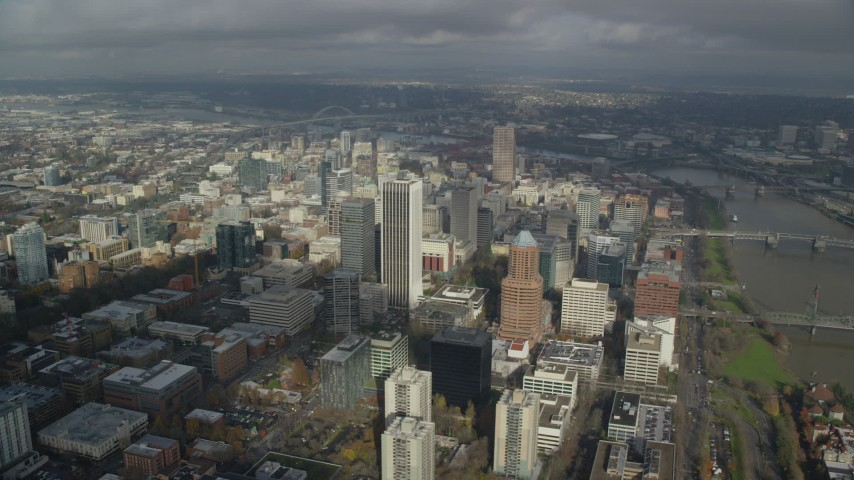 6K stock footage aerial video orbiting of skyscrapers in Downtown Portland, Oregon Aerial Stock Footage | AX153_074
