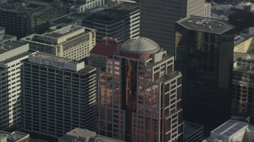 6K stock footage aerial video tracking 1000 Broadway building in Downtown Portland, Oregon Aerial Stock Footage | AX153_076