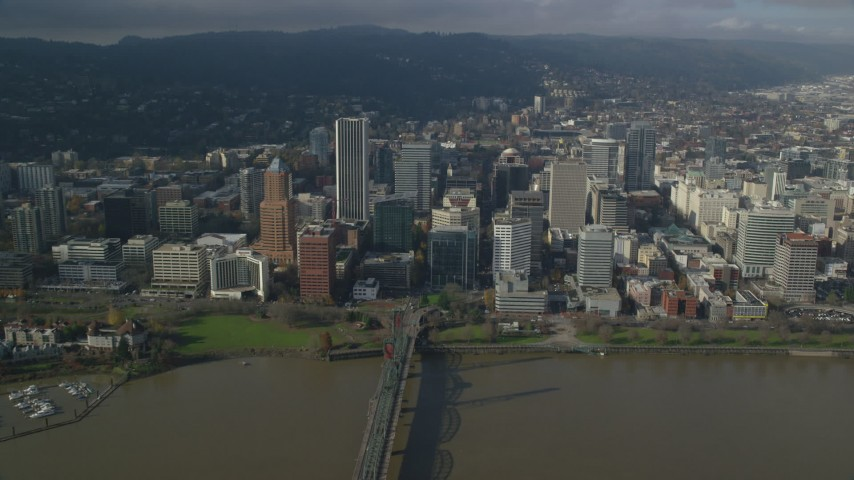 6K stock footage aerial video approaching skyscrapers in Downtown Portland, Oregon Aerial Stock Footage | AX153_084