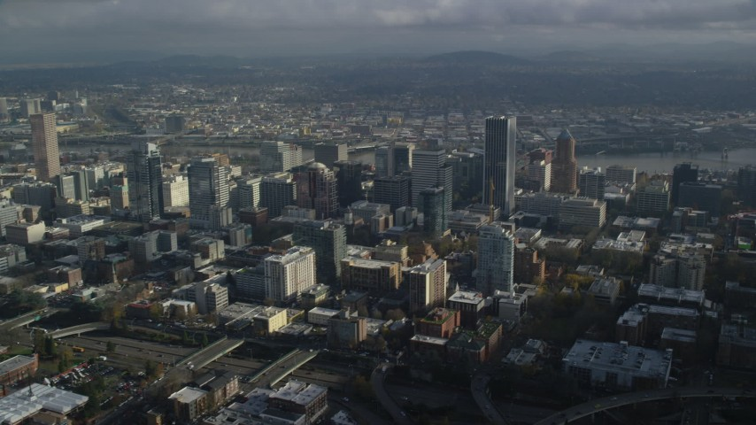 6K stock footage aerial video on approach to skyscrapers in Downtown Portland, Oregon Aerial Stock Footage | AX153_088