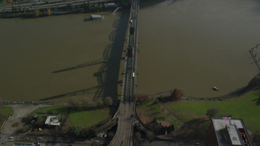 6K stock footage aerial video of a bird's eye view of the Hawthorne Bridge, reveal Interstate 5 in Downtown Portland, Oregon Aerial Stock Footage | AX153_090