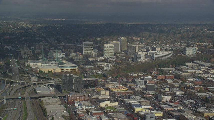 6K stock footage aerial video of Oregon Convention Center and office buildings in Lloyd District of Portland, Oregon Aerial Stock Footage | AX153_091