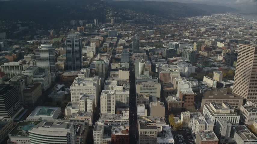 6K stock footage aerial video flying over Office Buildings on Washington Street in Downtown Portland, Oregon Aerial Stock Footage | AX153_094