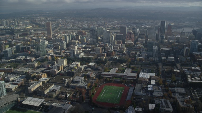6K stock footage aerial video approaching skyscrapers in Downtown Portland, Oregon Aerial Stock Footage | AX153_097