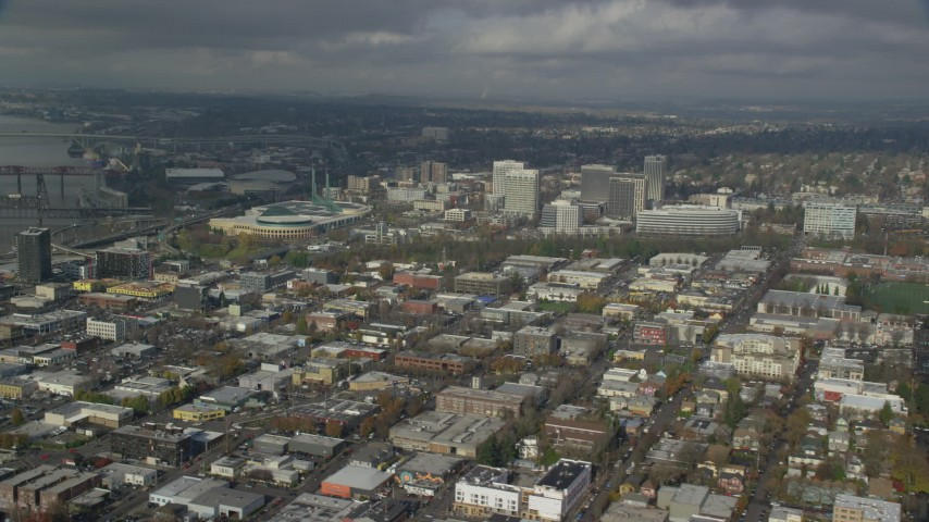 6K stock footage aerial video of Oregon Convention Center and office buildings in Lloyd District, Portland, Oregon Aerial Stock Footage | AX153_102