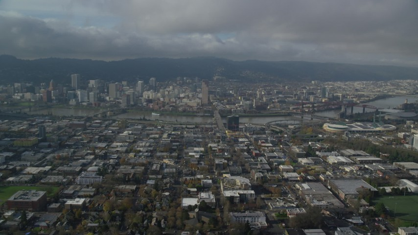 6K stock footage aerial video approaching Burnside Bridge to Downtown Portland, Oregon Aerial Stock Footage | AX153_103