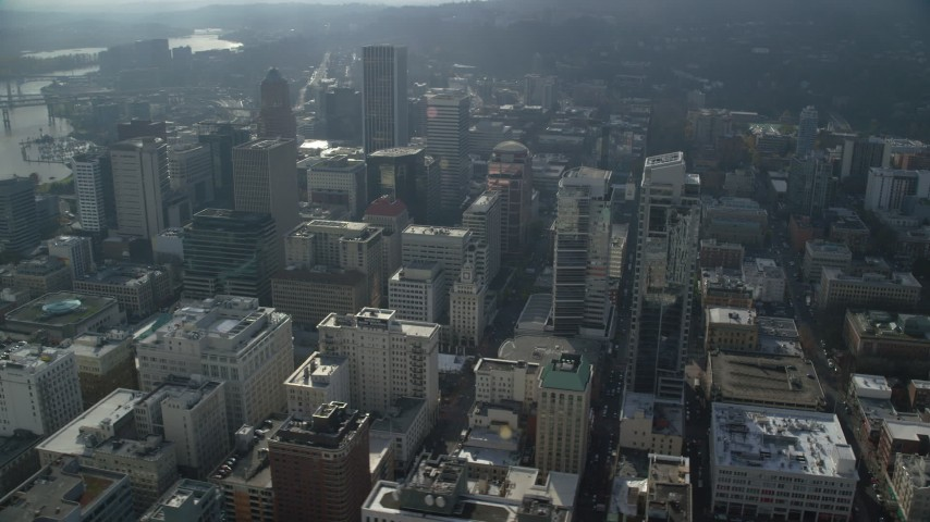 6K stock footage aerial video of Park Avenue West Tower, Tall skyscrapers in Downtown Portland, Oregon Aerial Stock Footage | AX153_107
