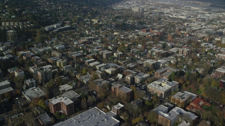 6K stock footage aerial video of apartment and office buildings in Northwest Portland, Oregon Aerial Stock Footage | AX153_108