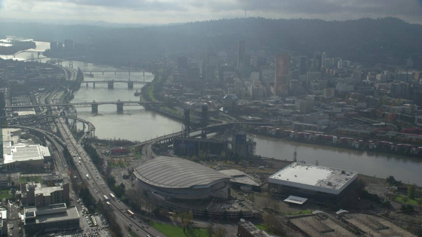 6K stock footage aerial video of bridges spanning the Willamette River and skyscrapers in Downtown Portland, Oregon Aerial Stock Footage | AX153_114