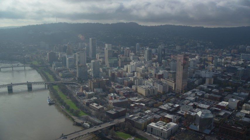 6K stock footage aerial video approaching skyscrapers and high-rises in Downtown Portland, Oregon Aerial Stock Footage | AX153_123