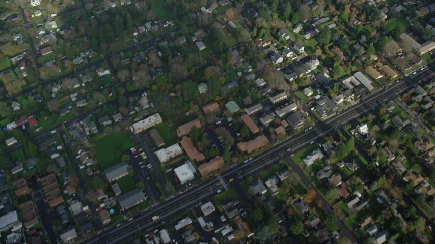 6K stock footage aerial video of a bird's eye view of suburban houses in Northeast Portland, Oregon Aerial Stock Footage | AX153_132