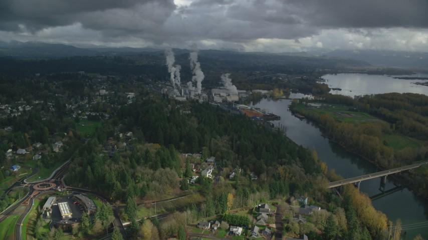 6K stock footage aerial video approaching Georgia Pacific Paper Mill in Camas, Washington Aerial Stock Footage | AX153_150