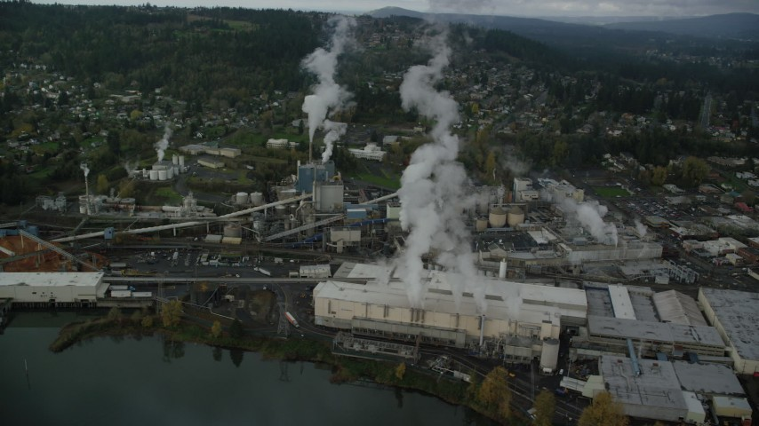 6K stock footage aerial video orbiting Georgia Pacific Paper Mill in Camas, Washington Aerial Stock Footage | AX153_153