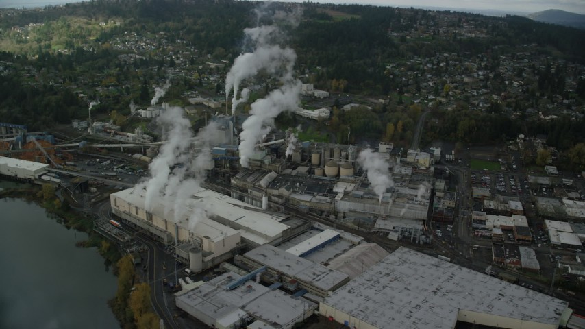 6K stock footage aerial video orbiting the Georgia Pacific Paper Mill, Camas, Washington Aerial Stock Footage AX153_154 | Axiom Images