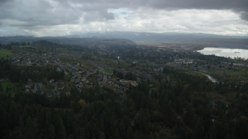 6K stock footage aerial video approaching Tract Homes in the small town of Camas, Washington Aerial Stock Footage | AX153_158