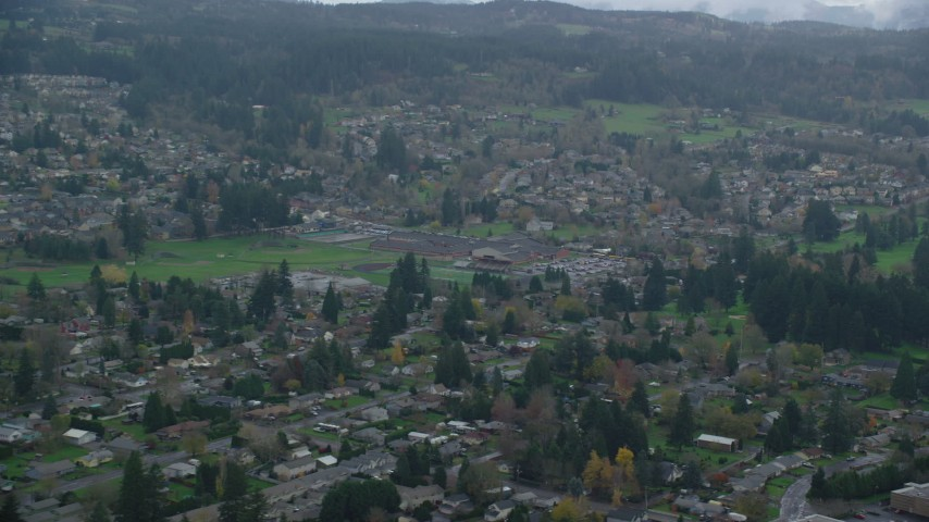 6K stock footage aerial video of elementary and high schools in Washougal, Washington Aerial Stock Footage | AX153_164