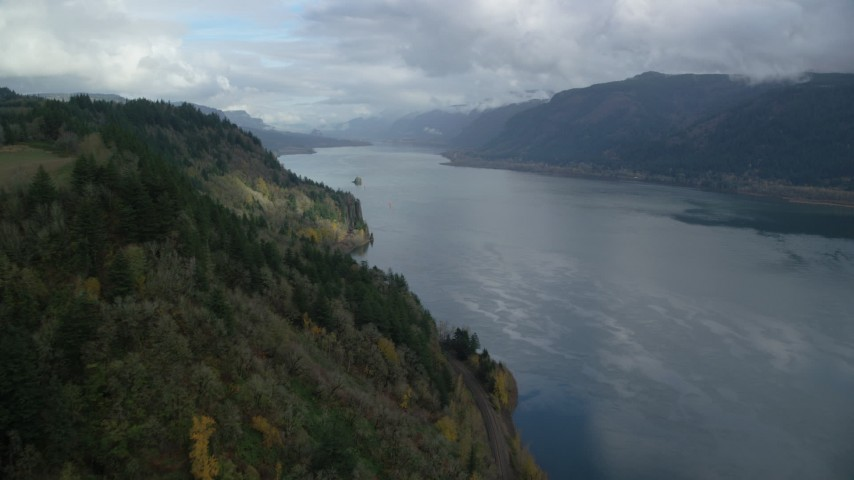 6K stock footage aerial video approaching the Columbia River Gorge, Oregon Aerial Stock Footage | AX153_185