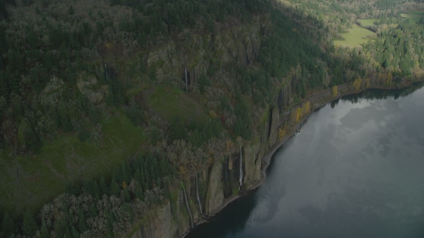 6K stock footage aerial video of a bird's eye view of waterfalls in Columbia River Gorge, Oregon Aerial Stock Footage | AX153_187