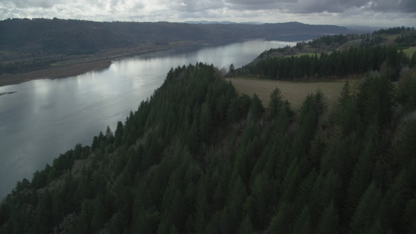 6K stock footage aerial video flying over cliff top trees in Columbia River Gorge, Oregon Aerial Stock Footage | AX153_188