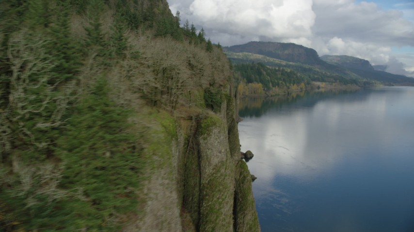 6K stock footage aerial video revealing three waterfalls in Columbia River Gorge, Washington Aerial Stock Footage | AX154_006