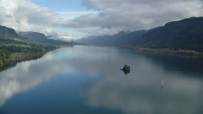 6K stock footage aerial video flying over the Columbia River through Columbia River Gorge, Washington Aerial Stock Footage   AX154_015