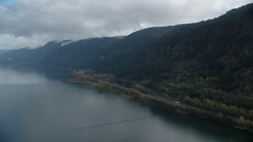 6K stock footage aerial video approaching a waterfall on a Columbia River Gorge cliff in Multnomah County, Oregon Aerial Stock Footage | AX154_017