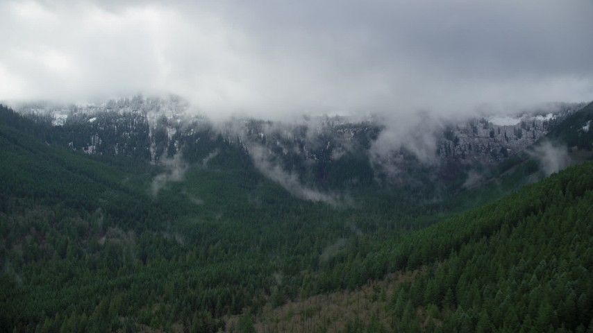 6K aerial video of snowy mountains at the end of a canyon with evergreen trees in Cascade Range, Hood River County, Oregon Aerial Stock Footage | AX154_057