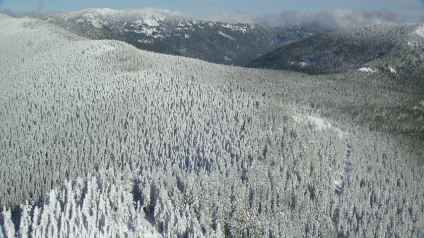 6K aerial video flying over forest on a snowy mountain ridge, Cascade Range, Oregon Aerial Stock Footage | AX154_102