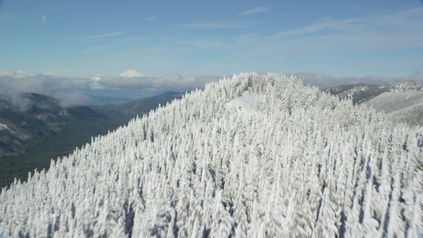 6K stock footage aerial video flying over snow forest at the end of a mountain ridge, Cascade Range, Oregon Aerial Stock Footage | AX154_106