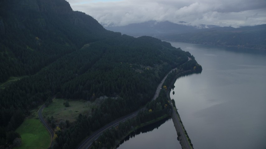 6K aerial video following Interstate 84 through the Columbia River Gorge Aerial Stock Footage | AX154_163