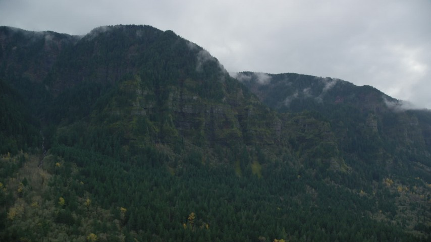 6K stock footage aerial video of steep mountain cliffs on the Oregon side of Columbia River Gorge Aerial Stock Footage | AX154_184