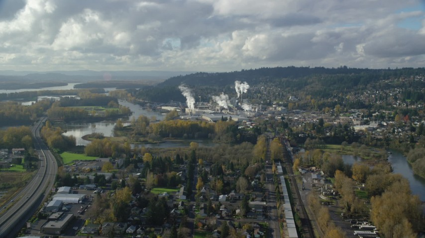 6K stock footage aerial video approaching the Washougal River and the Georgia Pacific Paper Mill in Camas, Washington Aerial Stock Footage | AX154_211