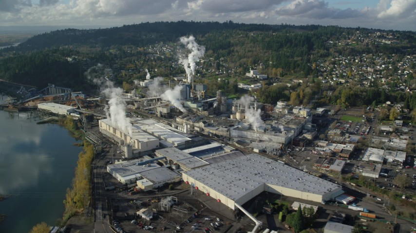 6K stock footage aerial video approaching the Georgia Pacific Paper Mill in Camas, Washington Aerial Stock Footage | AX154_213