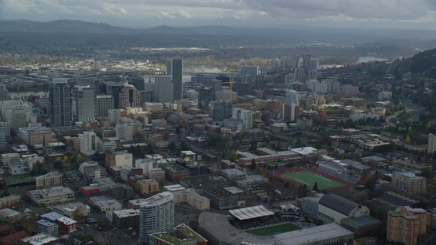 6K stock footage aerial video flying by skyscrapers in Downtown Portland, Oregon Aerial Stock Footage | AX154_230
