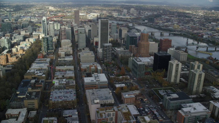 6K stock footage aerial video orbiting Wells Fargo Center, KOIN Center and skyscrapers in Downtown Portland, Oregon Aerial Stock Footage | AX154_233