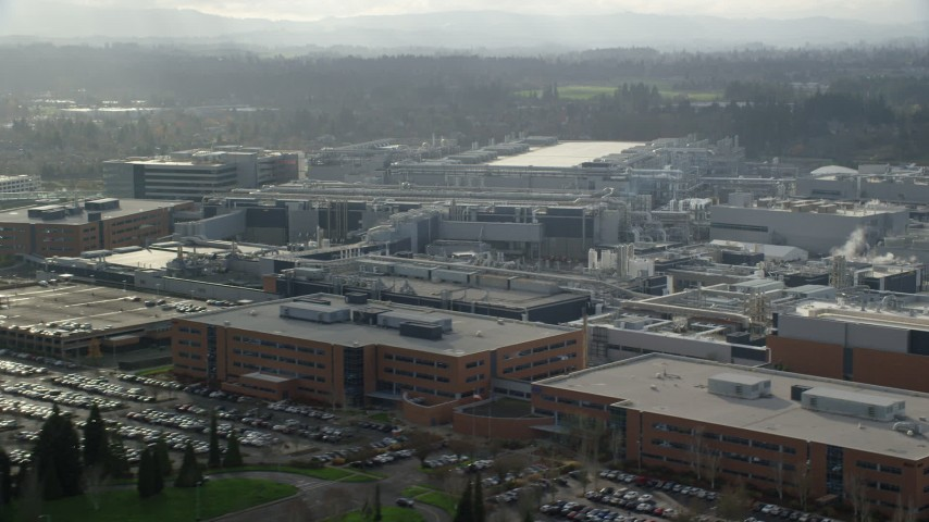 6K stock footage aerial video flying by the Intel Ronler Acres Campus in Hillsboro, Oregon Aerial Stock Footage | AX154_253